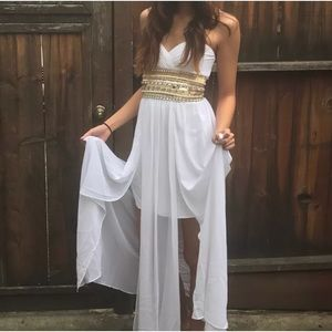 BEBE Prom Evening White Jewels Dress Size 0